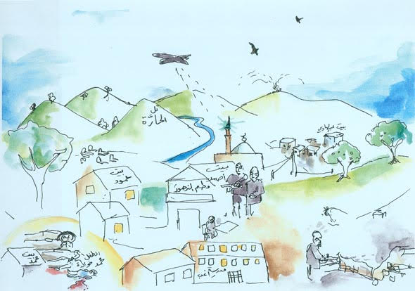 Illustration of the Syrian hometown, following the spoken memories of the Syrian men in Calais.