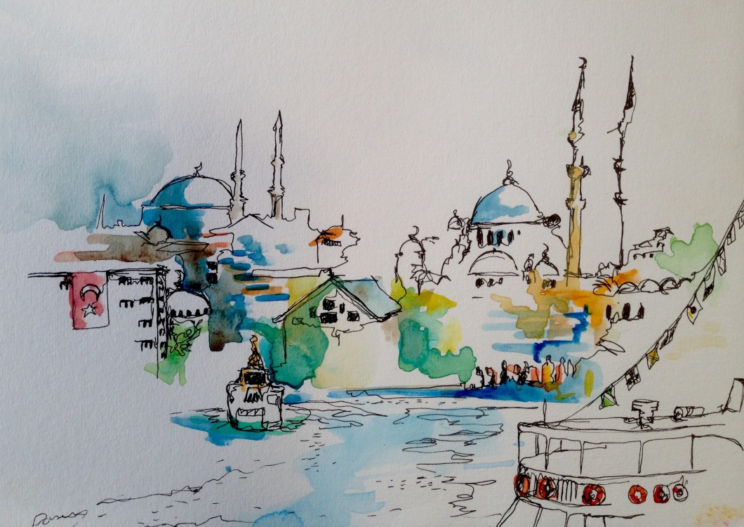 An illustration of Istanbul. Created for the exhibition 'Life in Transit' exploring the lives of displaced people living in the city. To be shown in Germany in April.