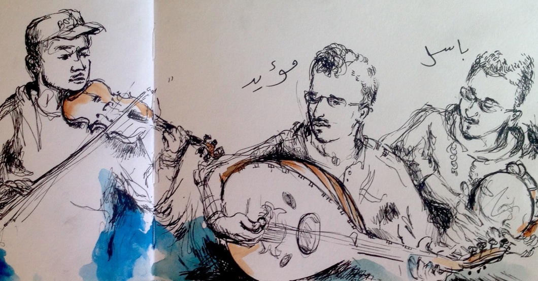 The Syrian musicians playing inside the tobacco shop in Istanbul. They wrote their names themselves in the illustration.
