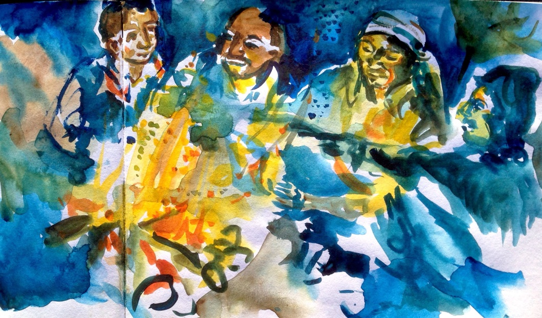Stories around the fire: painting created in Moria camp, Lesvos of Pakistani refugees.